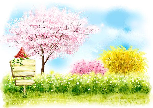 唯美水彩苹果树壁纸