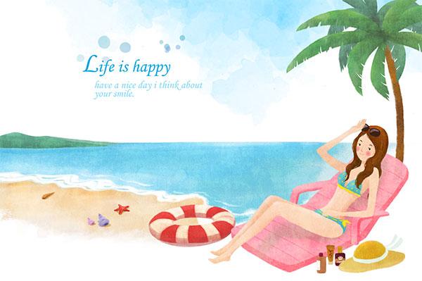海边度假水彩插画