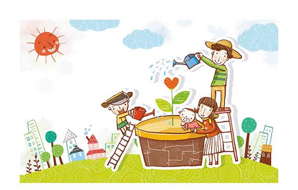 为花朵浇水的儿童