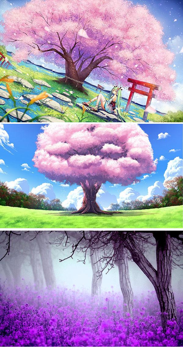 卡通插画,插画,插画图片,樱花,樱花树,薰衣草,唯美插画设计,唯美插画