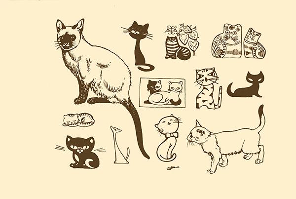 可爱小猫简笔画,线条小猫,手绘小猫插画,小猫剪影,宠物猫,宠物小猫图