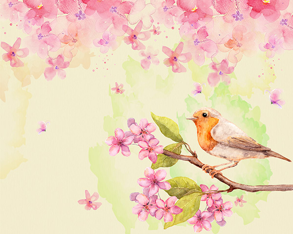 0 点 关键词: 水彩花鸟画psd分层素材,花鸟画,水彩画,桃花,落花,小鸟