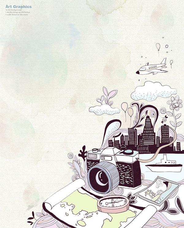 轮船,手绘风景,照相机,照相机,轮船,地图,旅游风景,插画,手绘风景