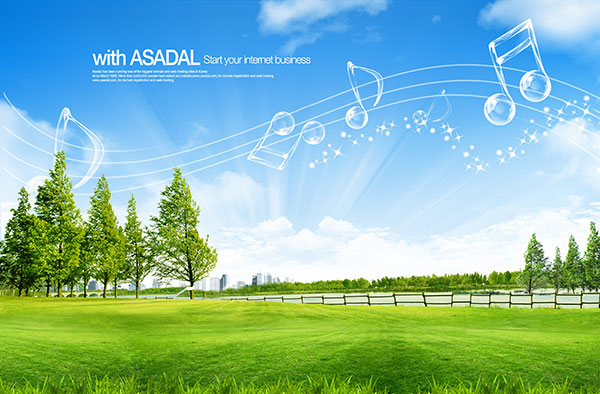 自然风景,草原风景,蓝天,天空,草地,白云,树林,园林 下载文件特别说明