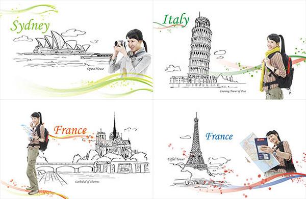 手绘线条建筑风景旅游插画图片psd