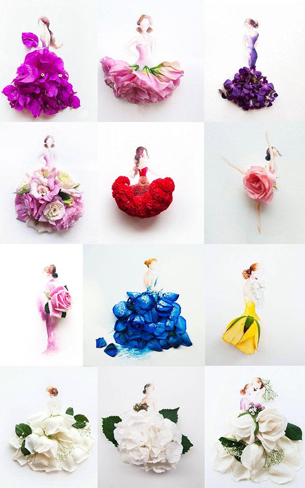 手绘花朵,手绘花朵人物,花朵插画,玫瑰花,花瓣,psd素材免费下载,源