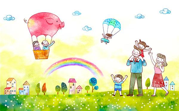 儿童节,水彩画,手绘画