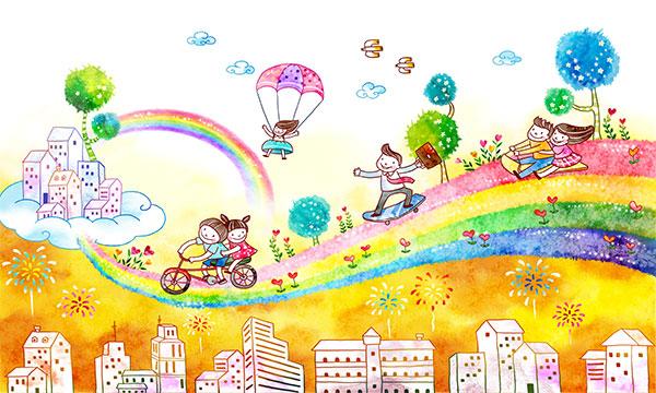 插画psd分层素材,快乐儿童,孩子,上学,梦幻乐园,儿童乐园,六一儿童节
