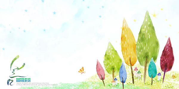 大树,水彩画图下,手绘插画图片