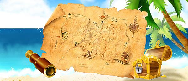 卡通地图宝藏彩绘