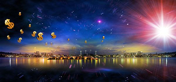 地产海报,地产广告,地产宣传,城市夜景,湖边,繁华,金钱,倒影,星空