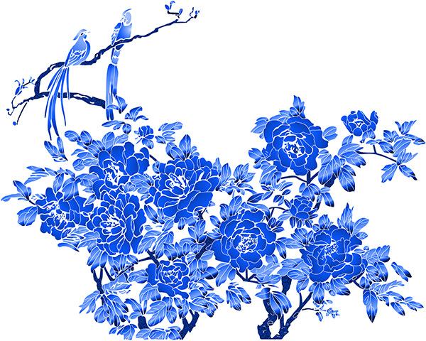 素材分类: 绘画艺术所需点数: 0 点 关键词: 蓝色淡雅花鸟画psd分层