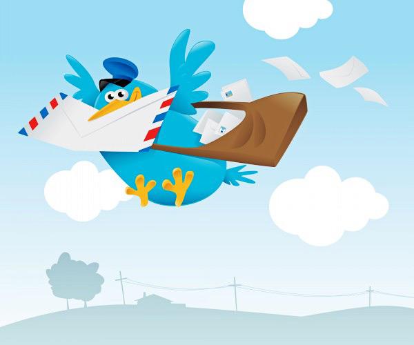 蓝色信鸽矢量素材下载,卡通,动物,信鸽,鸽子,信封,邮递,简笔画,矢量