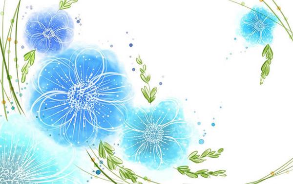 蓝色花朵图片,唯美花朵手绘图片,手绘花朵矢量图,唯美手绘花朵铅笔画