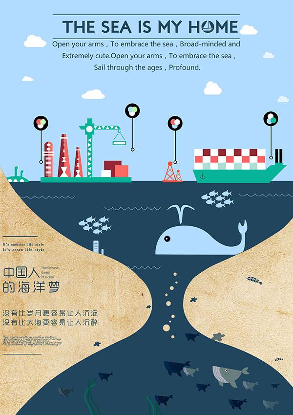扁平化海報,活動海報,中國人的海洋,扁平化廣告設計,海報素材,廣告