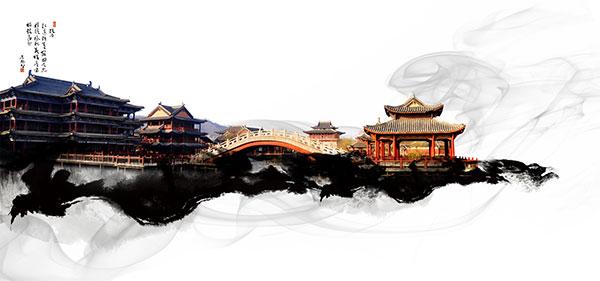 古典建筑,水墨素材,水墨图片