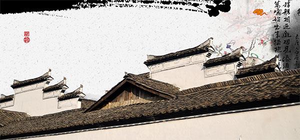 复古建筑,徽派建筑,水墨素材