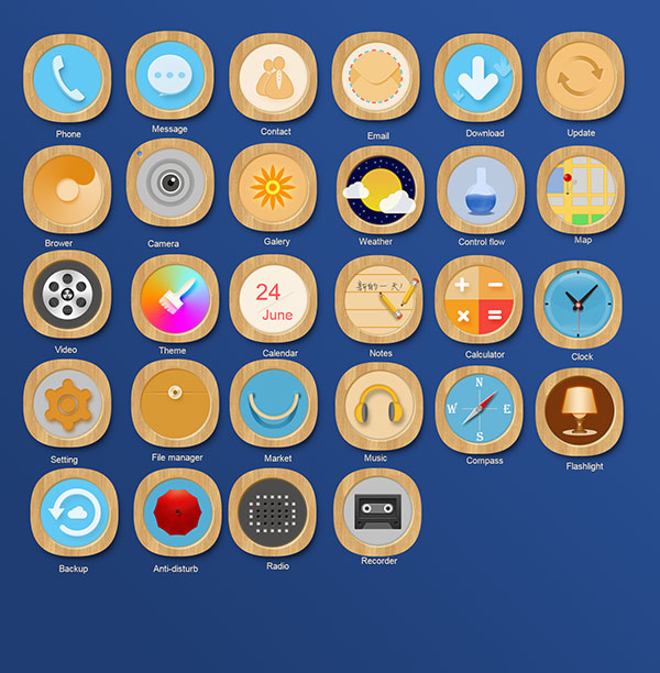 木质手机app图标psd分层素材