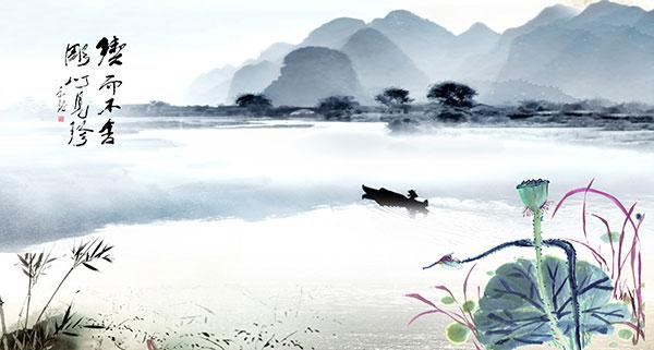 关键词: 中国风山水画psd分层素材,中国画,山水画,水墨画,荷花,小船