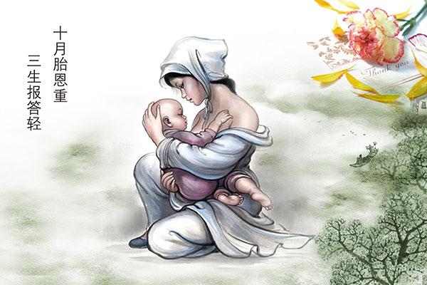 手绘母亲插画图片