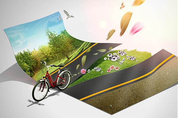 自行车公路风景