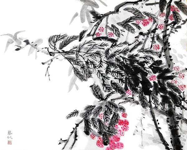 水墨荔枝国画psd分层素材,中国画,水墨画,荔枝,中国风,文化艺术,绘画