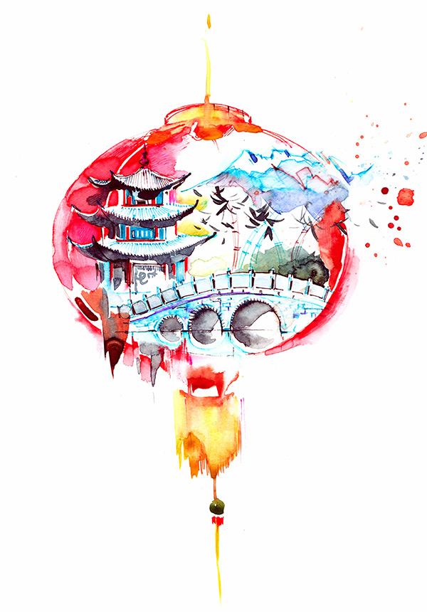 创意设计,多彩水墨,水彩,中国风标识,红灯笼,拱桥,阁楼,建筑,燕子