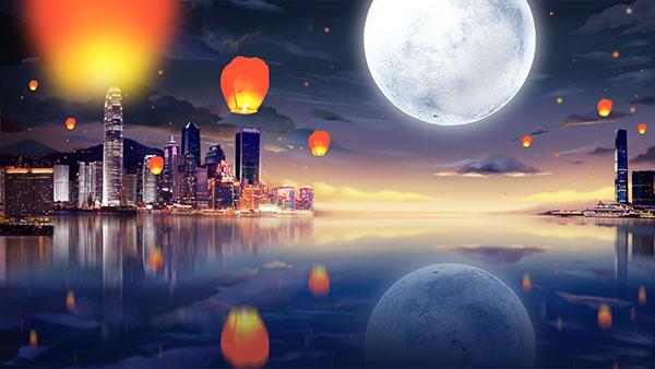 手绘插画,唯美风景,春节素材,万家灯火,城市,湖泊,中秋圆月,中秋背景