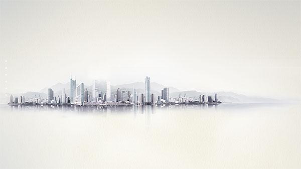 城市水墨画