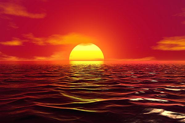 海平面红日升