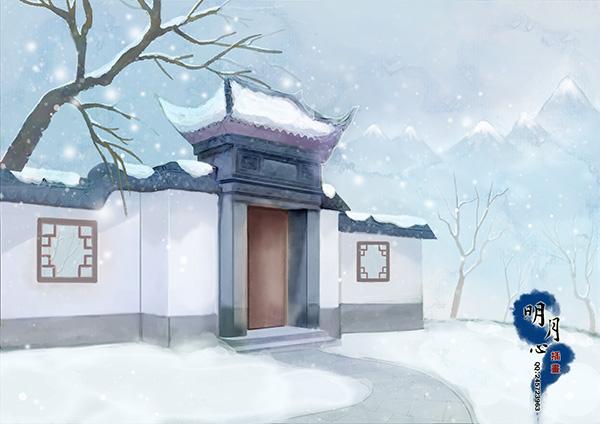 古风场景插画psd分层素材,手绘插画,动漫背景,古风场景,雪天,古建筑