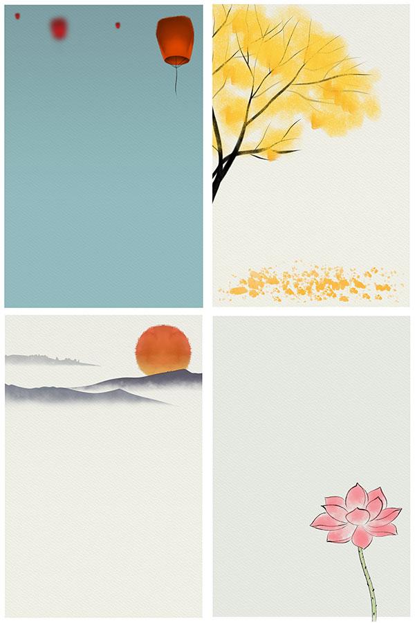 水墨背景,简约背景,禅意背景,小清新,小清新背景,荷花,落日,落叶,秋天