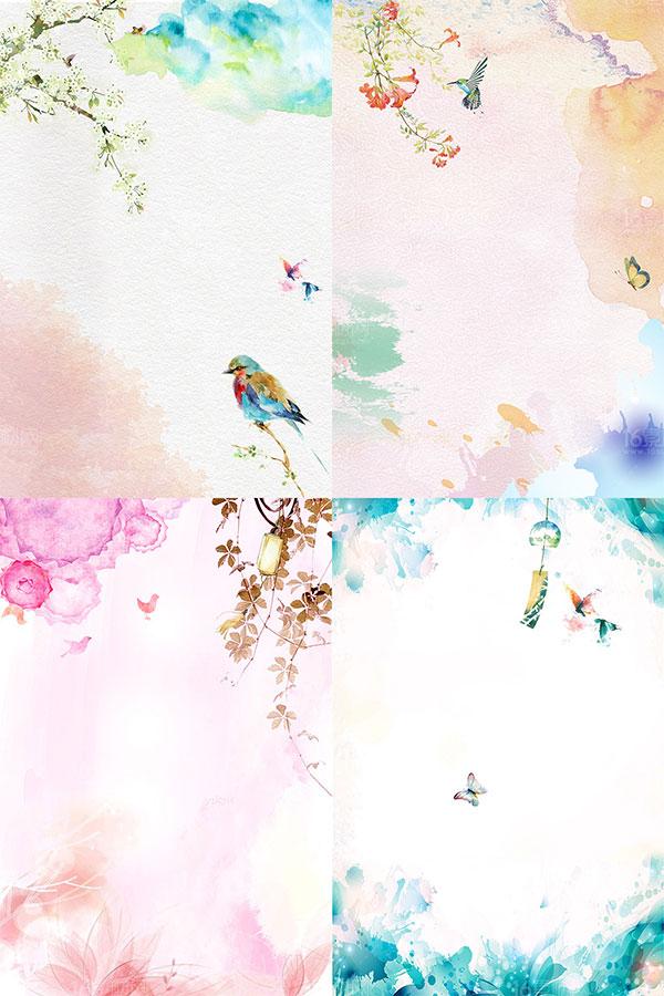 春季背景,粉色背景,花瓣背景,渐变背景,手绘背景素材,花鸟,淡彩水粉