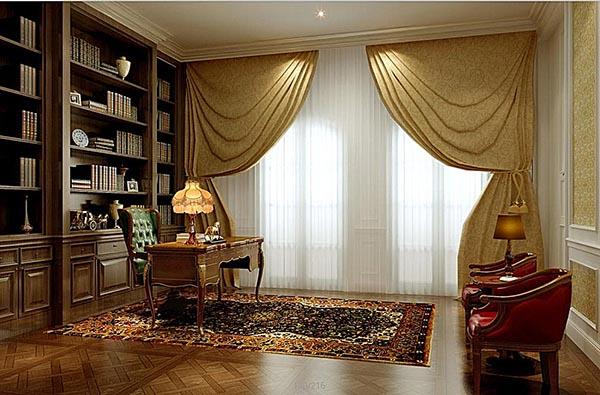 室内效果所需点数: 0 点 关键词: 欧式书房模型,欧式,书房装修,家装