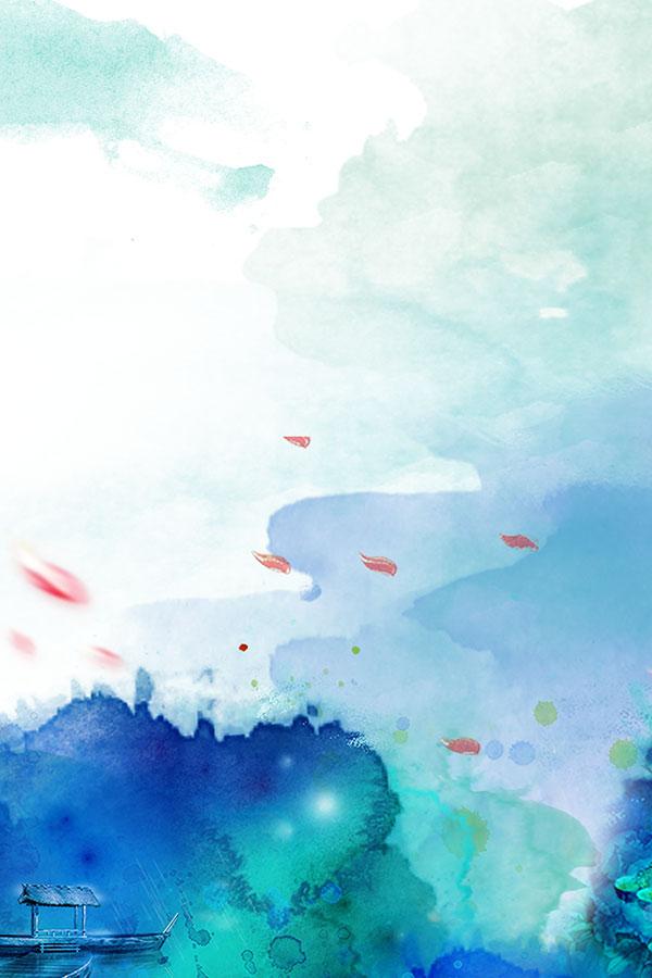 0 点 关键词: 蓝色手绘水彩海报背景psd分层素材,中国风底纹背景