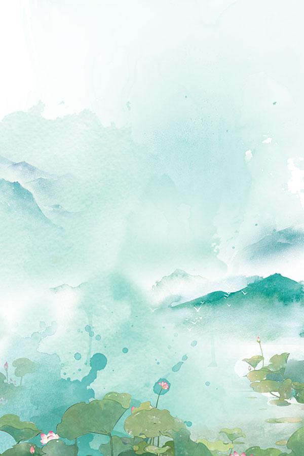 荷花手绘水彩海报背景psd分层素材,中国风底纹背景,荷花,水彩山水画