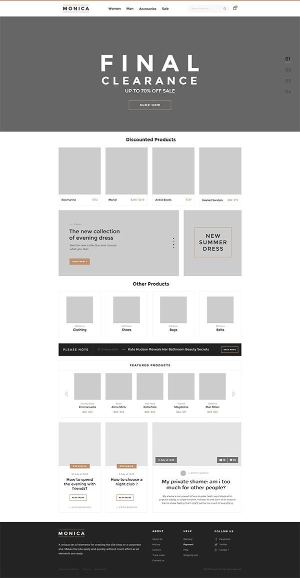 电商公司网站模板psd分层素材,简约大气网站设计,灰色banner国外网页