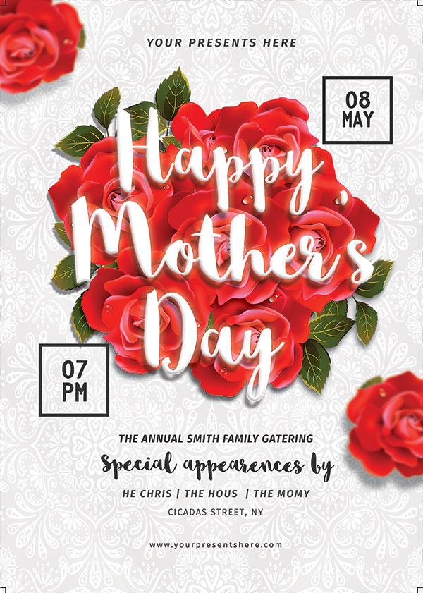 玫瑰花母亲节海报