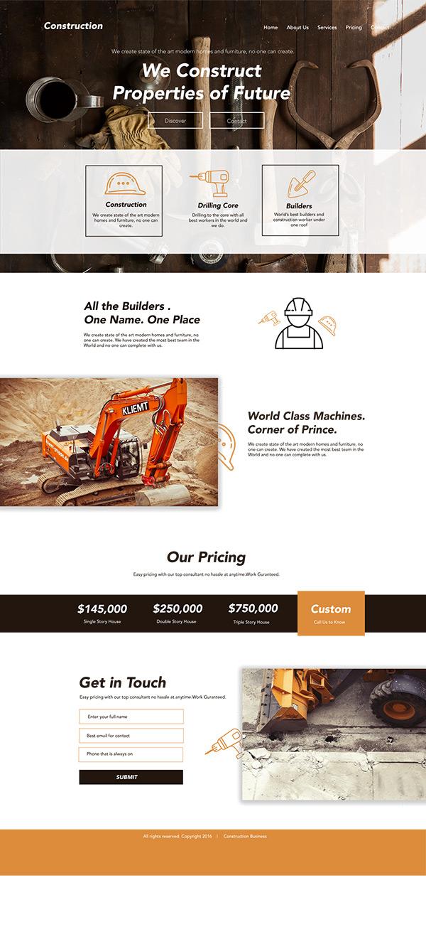 素材分类: 网页所需点数: 0 点 关键词: 工程建设公司网站着陆页设计