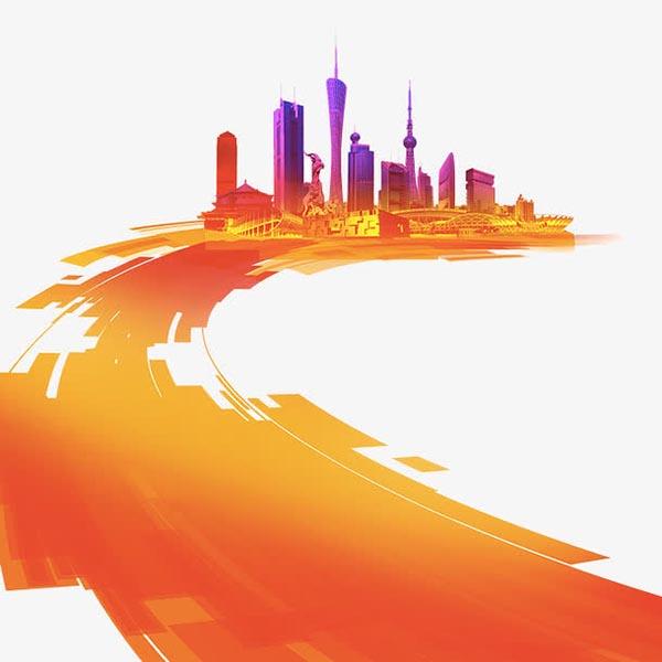 手绘橙色城市建设,城市建筑,光影,橙色,马路,动感元素,酷炫元素,背景