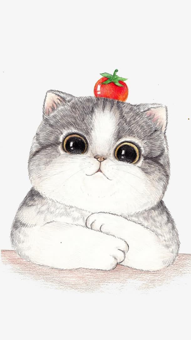 手绘大脸猫咪