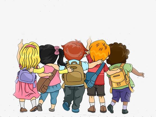 卡通学生背影,卡通素材,手绘人物,卡通人物,卡通背影,小男孩,小女孩