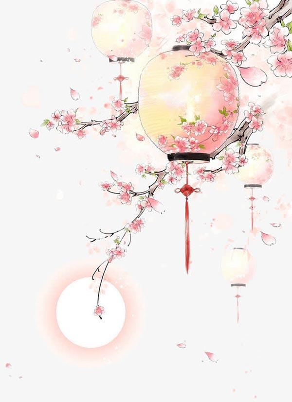 创意元素所需点数: 0 点 关键词: 水彩手绘古风桃树灯笼,粉色桃花
