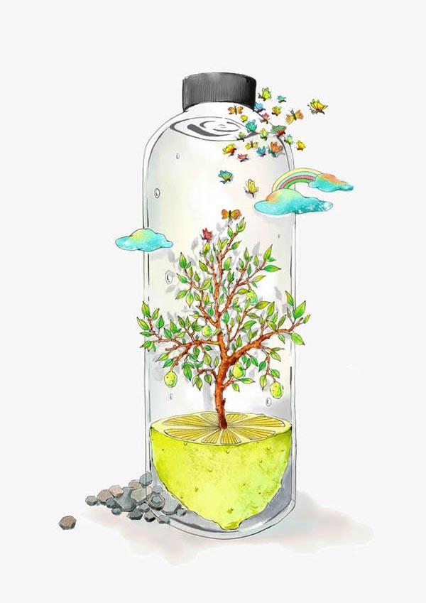 卡通手绘风景瓶子_素材中国sccnn.com