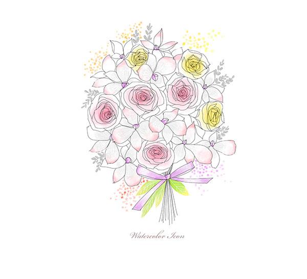 源文件,设计素材,创意设计,手绘,插画,水彩,花朵,鲜花,花束,线描,白描