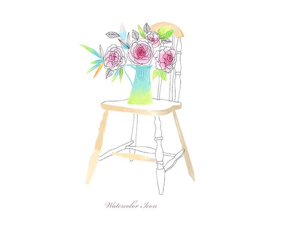 椅子上的花盆水彩