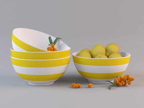 条纹水果盆模型