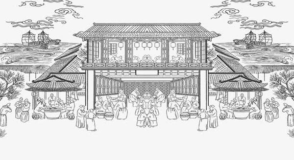 描写古代集市繁华热