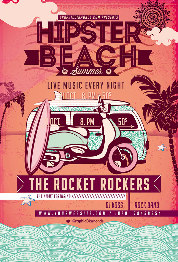 夏日海滩派对海报