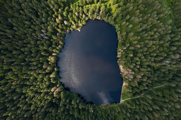 鸟瞰森林里的湖
